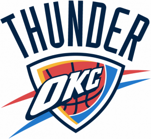The Oklahoma City Thunder logo of the NBA team