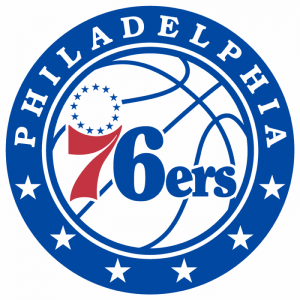 The logo of the Philadelphia 76ers, the NBA team